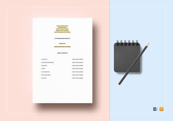 editable cost breakdown analysis template