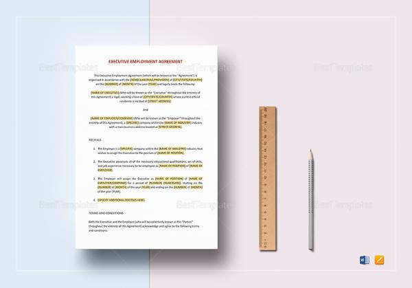 editable employment agreement executive template
