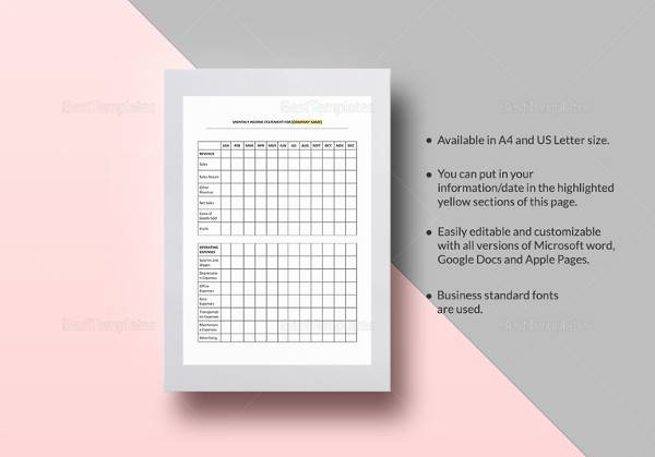 editable income statement monthly template
