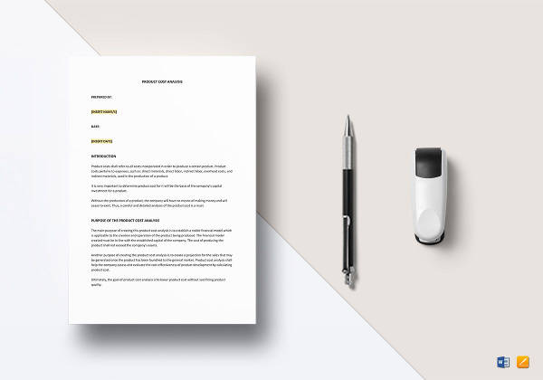 editable product cost analysis template