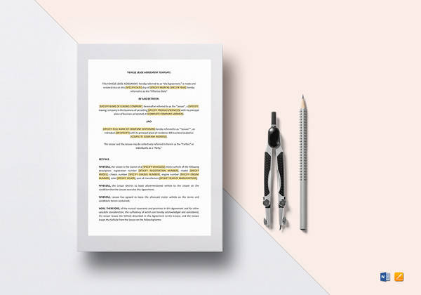 editable vehicle lease agreement template
