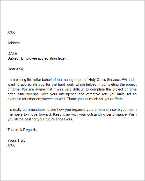 Appreciation Letter. Staff Appreciation Letter Template