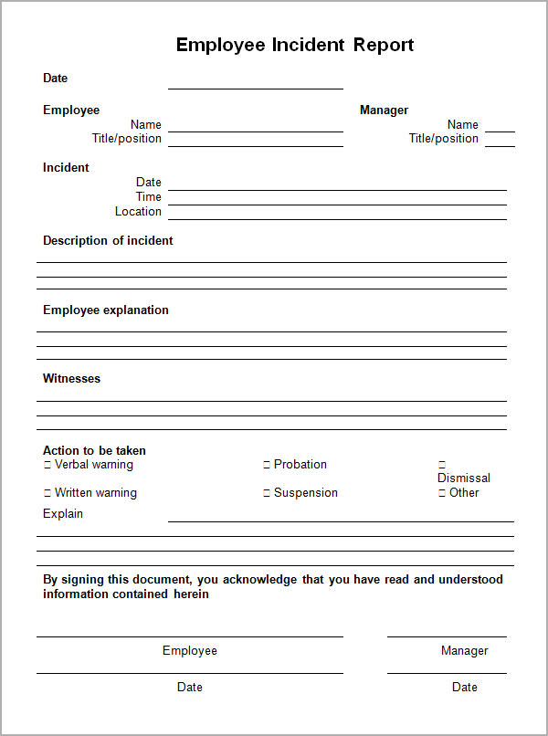 Sample Employee Incident Report Form Employee Incident Report  Free Incident Report Template
