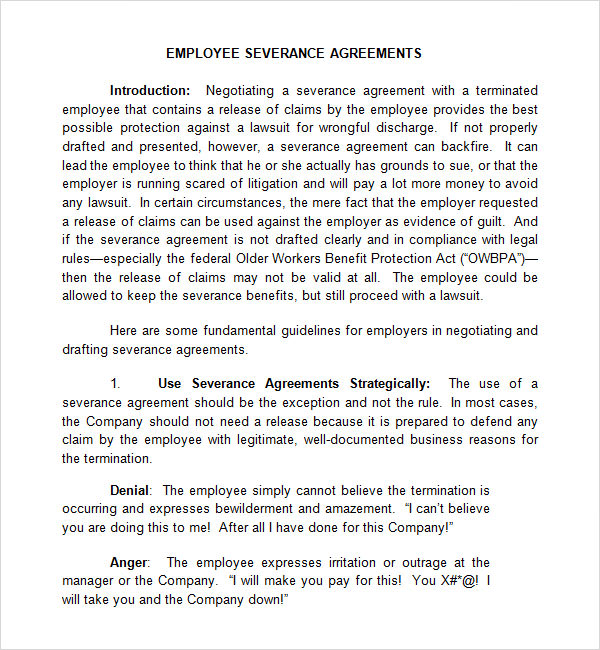Severance Agreement Template Rule Of Law