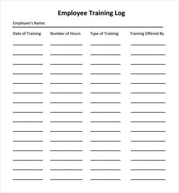 employee training log template excel