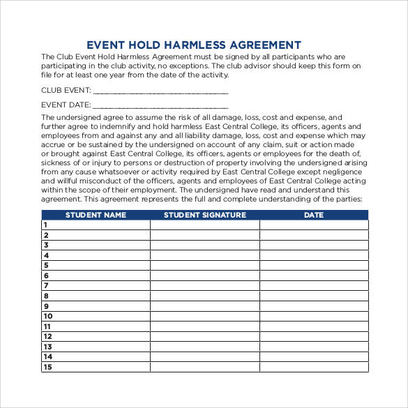 event-hold-harmless-agreement