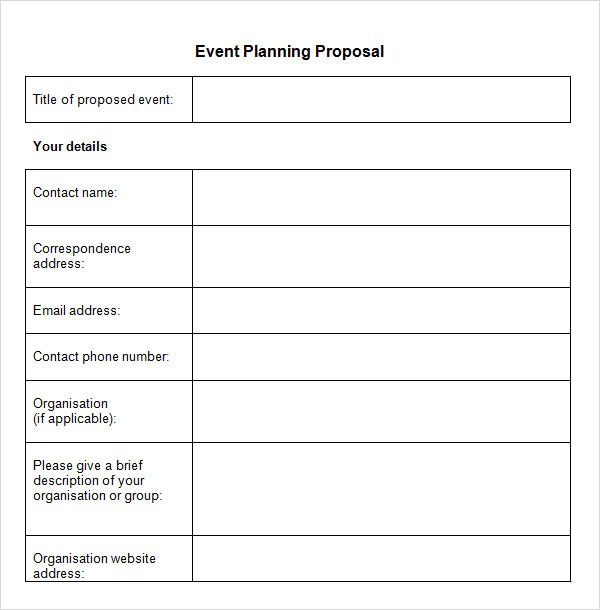 Planning Proposal Template  Event Planning Template Free