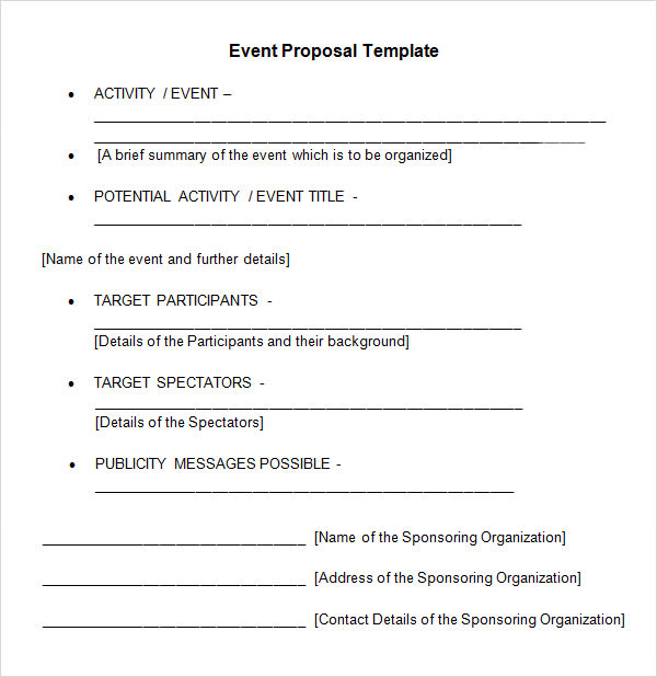 Sample Event Proposal Template 21 Free Documents in PDF Word – Word Template for Proposal