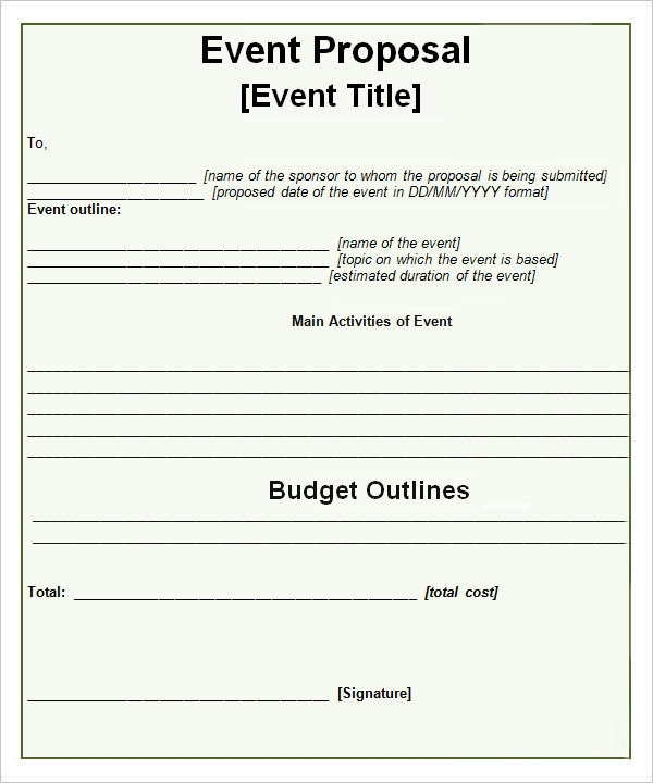 Sample Event Proposal Template 21 Free Documents in PDF Word – Event Proposals Samples