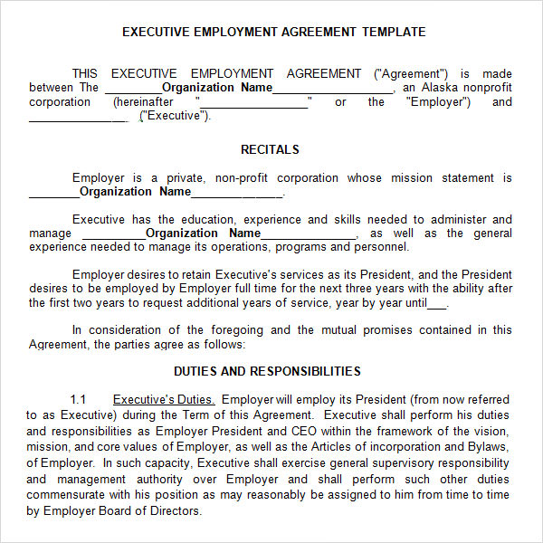 10 free sample executive agreement templates sample for Director employment contract template