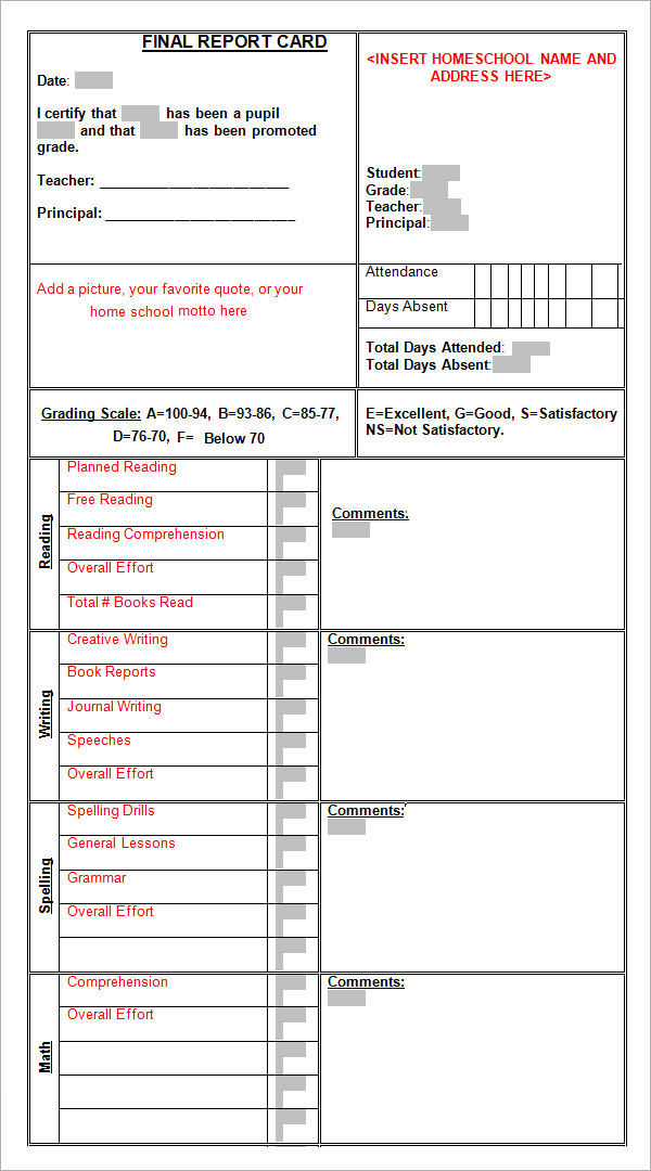 Sample report card template 11 download documents in for High school report card template word