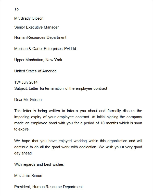 sample contract termination letter template .
