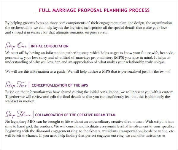 9 sample wedding proposal templates to download sample for Free wedding planner templates