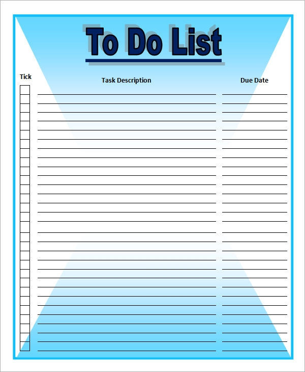 To Do List Template   16  Download Free Documents in Word Excel PDF x2a84vXU