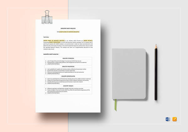 fully editable industry swot analysis template