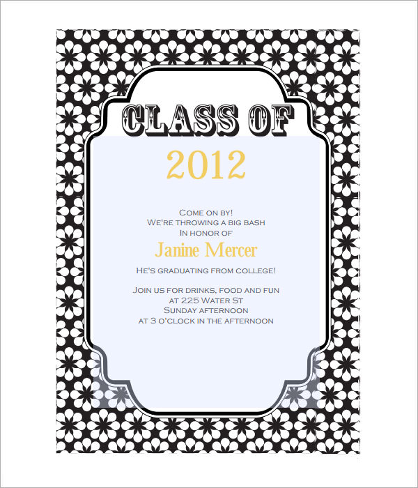 Graduation Invitation Template Word  Party Invitation Template Word