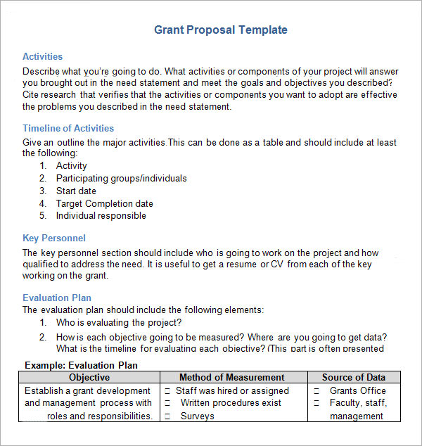 Sample Grant Proposal Templates Idealstalist