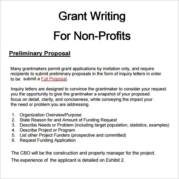 Non Profit Proposal Template: 6+ Grant Proposal Templates-PDF,Doc Download