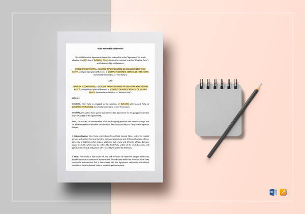 hold harmless agreement word template