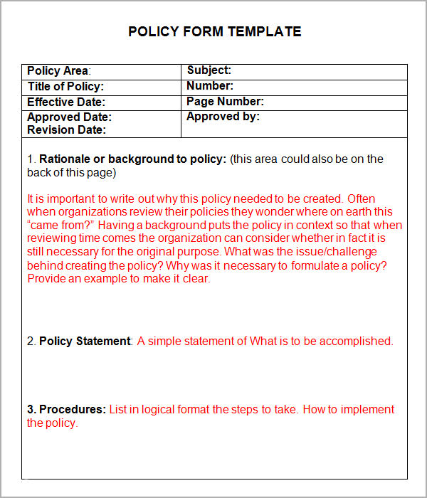 writing policy and procedures template - 6 policy and procedure templates pdf doc