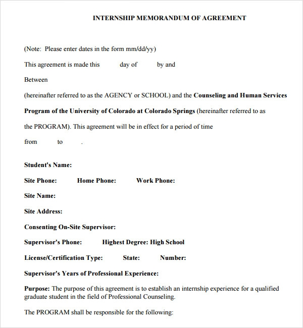 internship memorandum of agreement