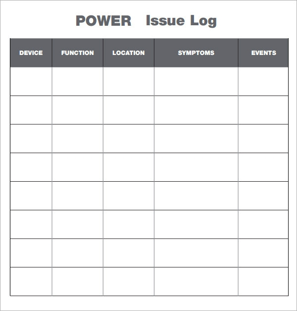 issues log template