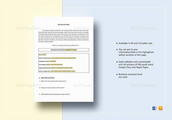 job analysis form template1