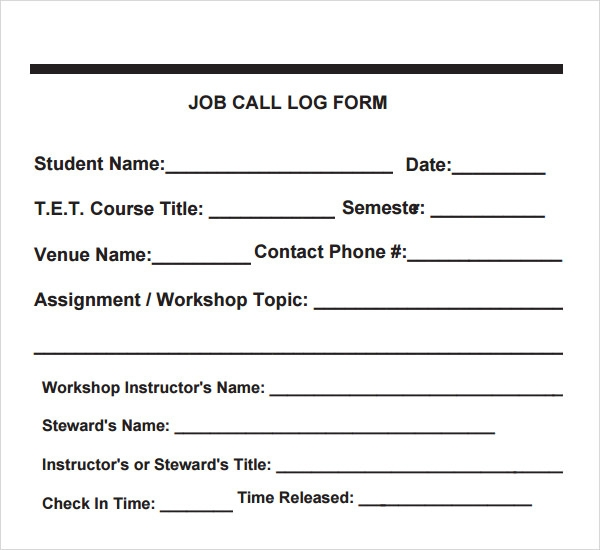 Job Call Log Form Template