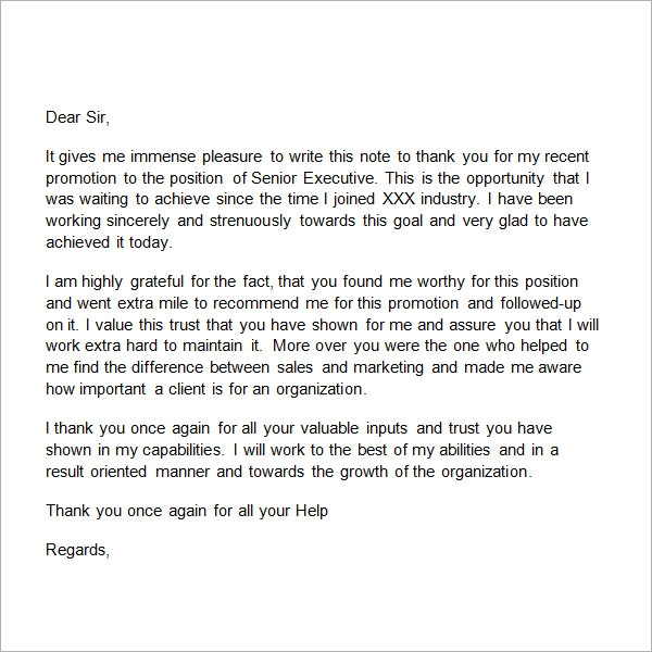 Sample Thank-You Letter for Promotion