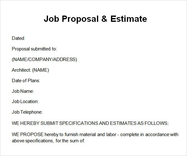 Job Proposal U0026 Estimate 1  Proposal Of Work Template