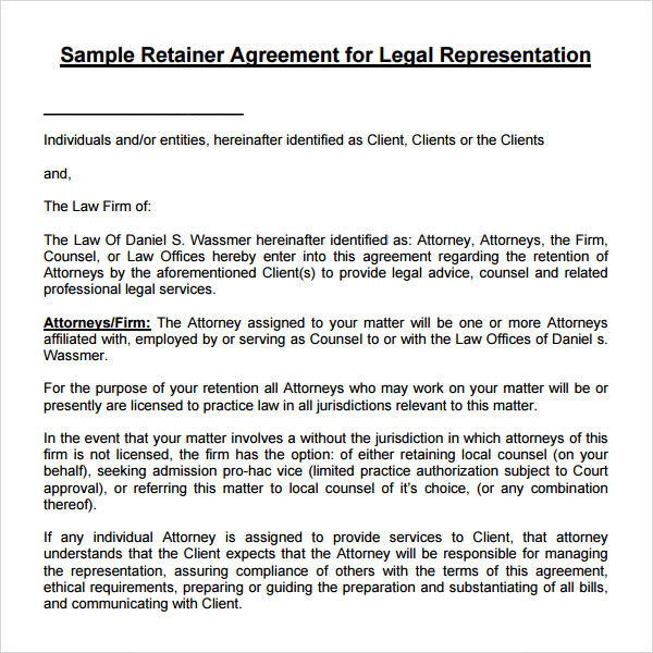 Attorney Resume Attorney Retainer Agreement Template