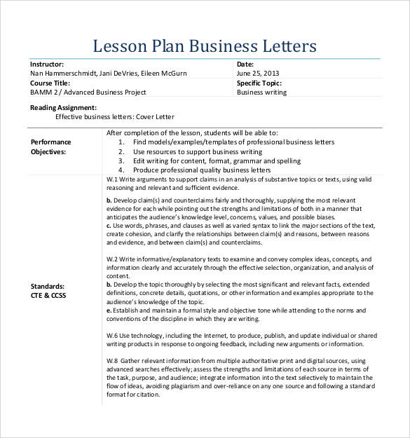 formal lesson plan business letter