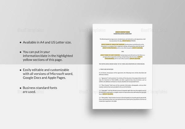 marketing services agreement template