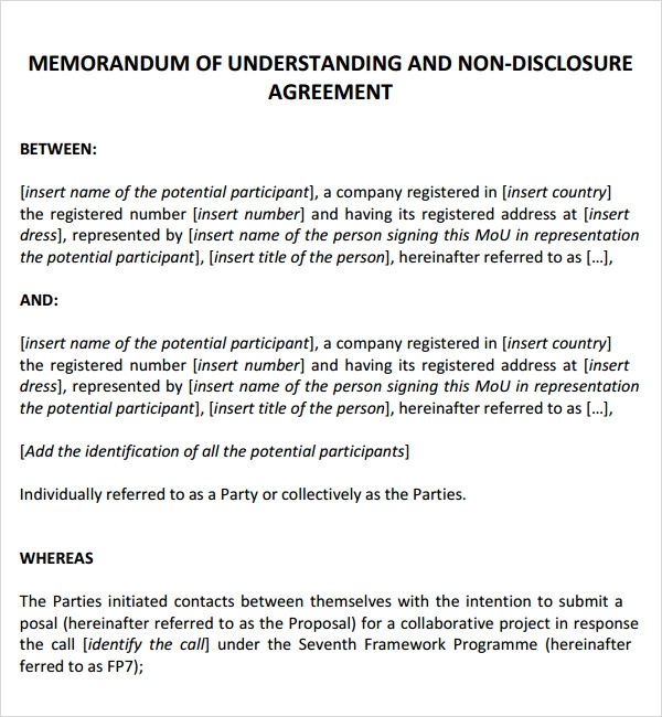 12 sample memorandum of agreement templates to download for Template for a memorandum of understanding