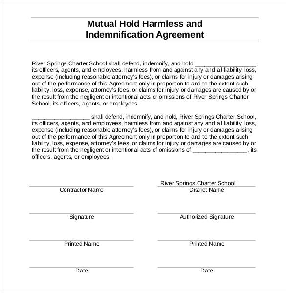 Hold Harmless Agreement Template Letter With Sample  VisualbrainsInfo