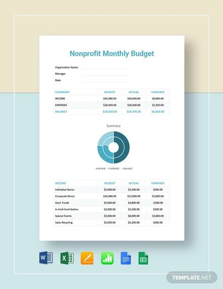nonprofit monthly budget template