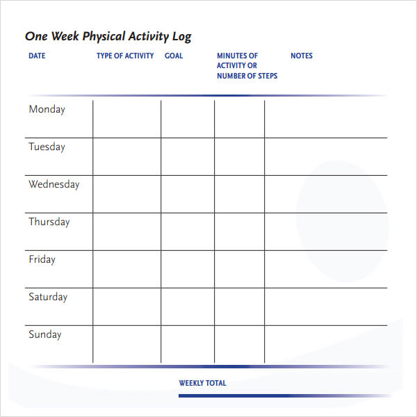 Sample activity log template 5 free documents download for Activity timetable template