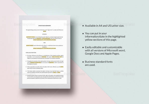 option to buy agreement template to edit