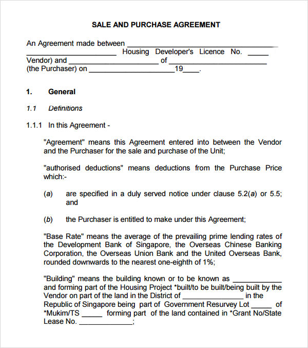 Purchase Agreement Template Idea