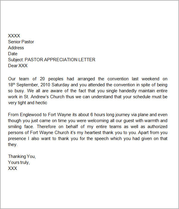 Pastor Appreciation Letter Template  Letter Template