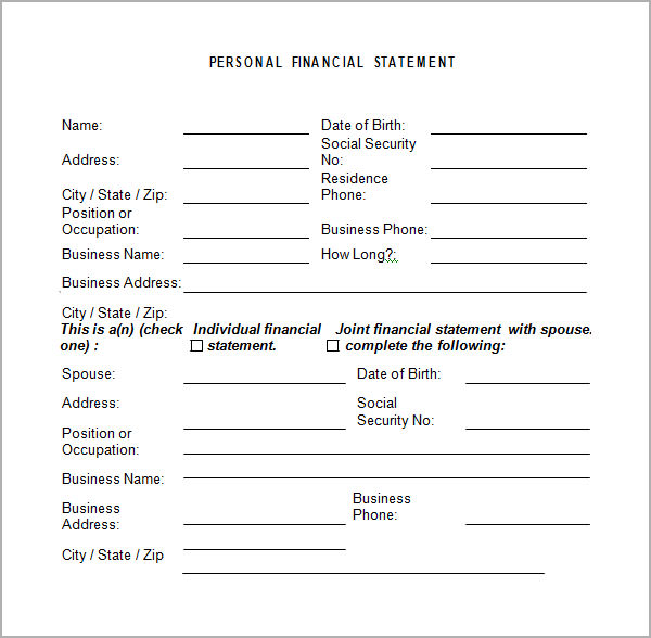 Personal Financial Statement Templates 9 Download Free