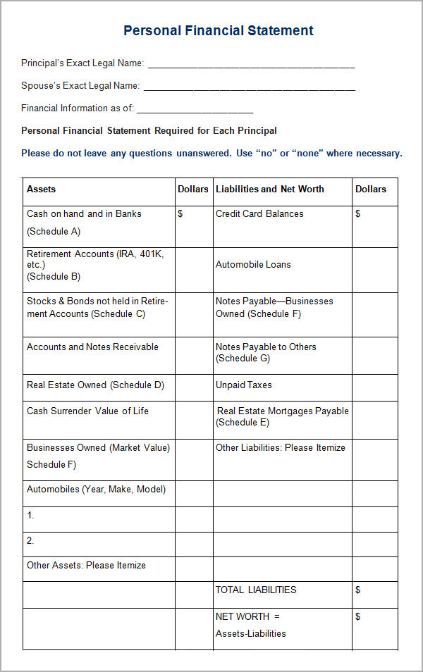 Personal Financial Statement Templates 9 Download Free – Asset and Liability Statement Template