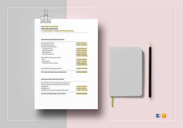 printable cash flow statement template