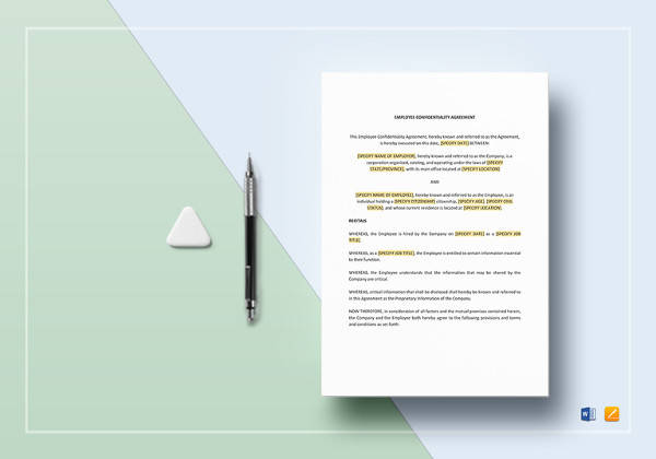 printable employee confidentiality agreement template