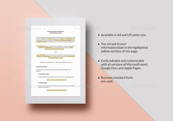 12 Sample Memorandum Of Agreement Templates To Download Sample