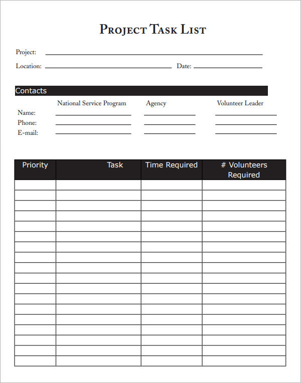 Project Task List  Free Printable Blank Checklist Template
