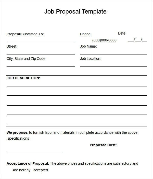 Bid Proposals. Job Proposal Template Construction Estimating