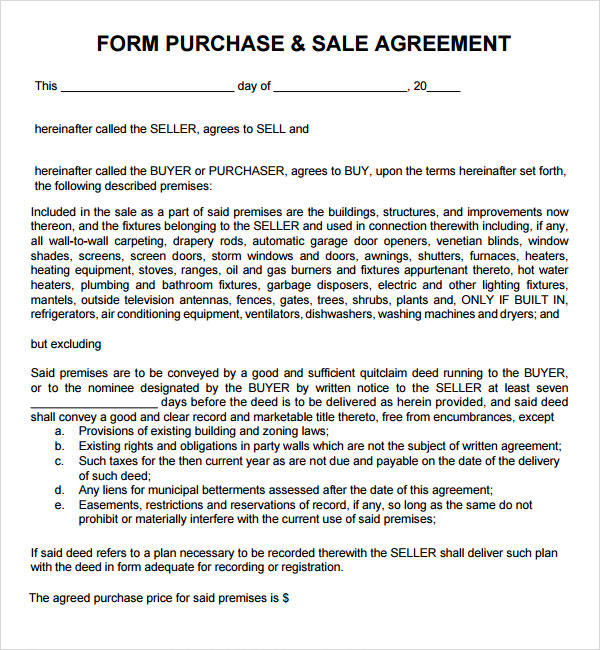 purchase and sales agreement template