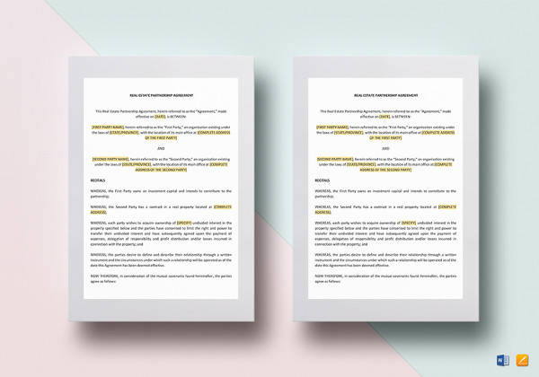 real estate partnership agreement template in word