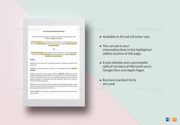 real estate partnership agreement template1